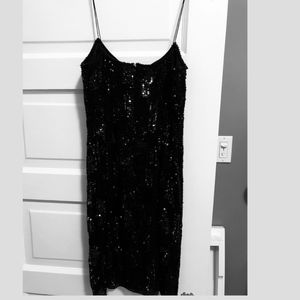 Aidan Mattox Black Beaded Cocktail Dress - Size 8